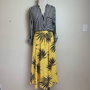 Dresses & Skirts - Bright yellow and black floral fit and flare skirt